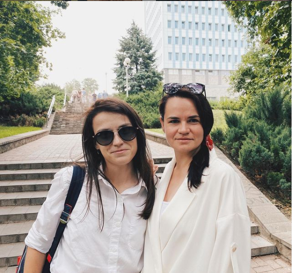 Darya Losik with Sviatlana Tsikhanouskaya (Courtesy photo)